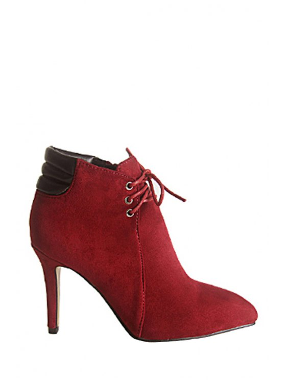 shops Suede Splicing Lace-Up High Heel Boots - WINE RED 34