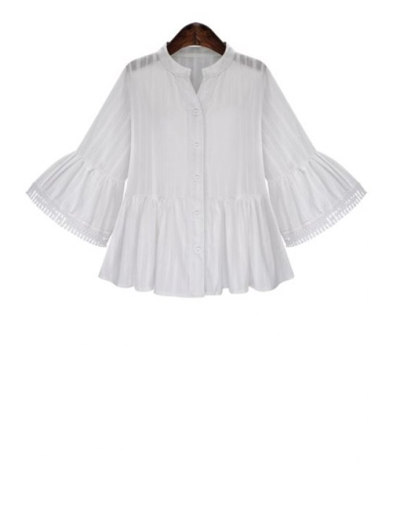 women Stand Neck Ruffle Sleeve White Blouse - WHITE S