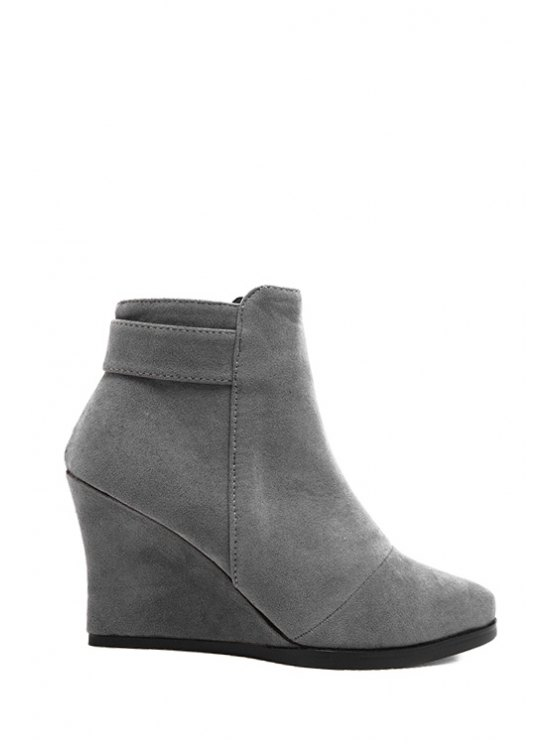 shops Suede Solid Color Zipper Ankle Boots - GRAY 34