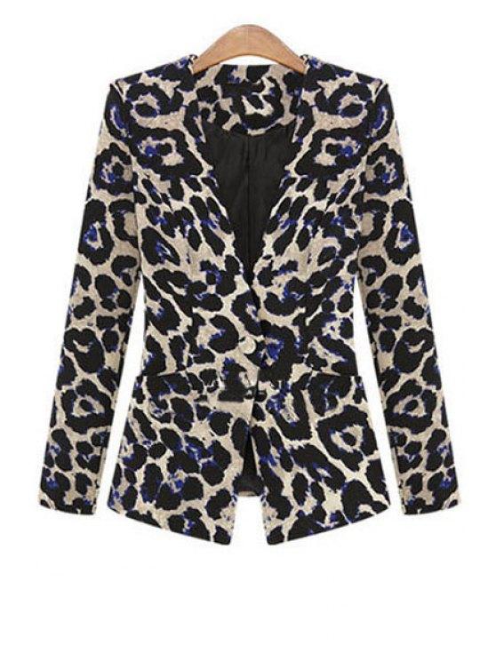 affordable One Button Leopard Plus Size Blazer - BLACK L