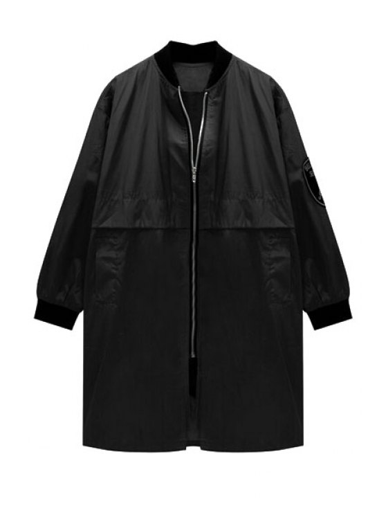 ladies Stand Neck Pocket Trench Coat - BLACK S