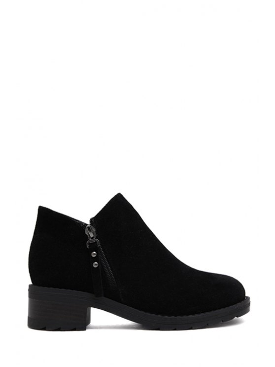 new Suede Rivets Solid Color Ankle Boots - BLACK 35