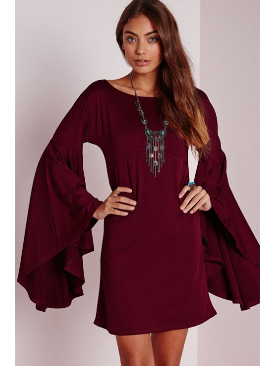 sale Solid Color Scoop Neck Bell Sleeve Dress - WINE RED S