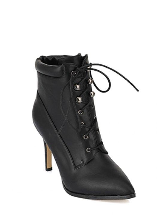 fancy Lace-Up Rivets Stiletto High Heel Boots - BLACK 34