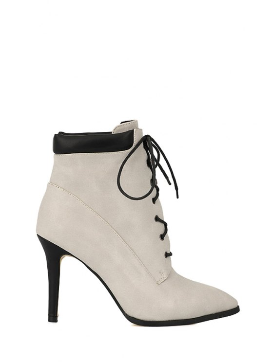 best Lace-Up Rivets Stiletto High Heel Boots - OFF-WHITE 38