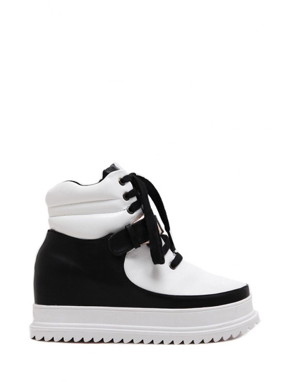 shops Color Block Buckle Lace-Up Platform Shoes - BLACK 35