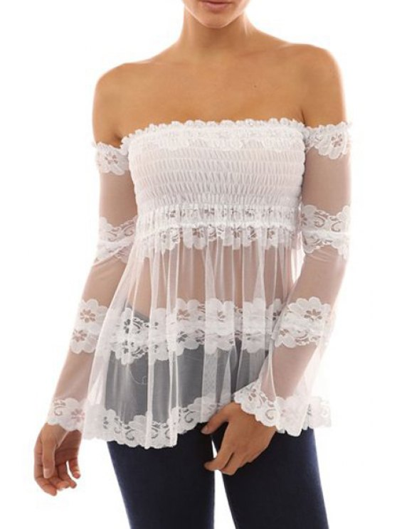 online Slash Neck See-Through Lace Long Sleeve Blouse - WHITE S