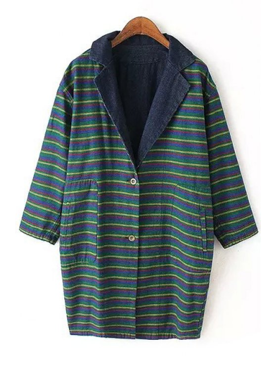 lady Striped Reversible Turn-Down Collar Trench Coat - GREEN M