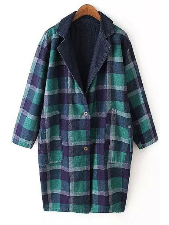 online Plaid Reversible Turn-Down Collar Trench Coat - COLORMIX M