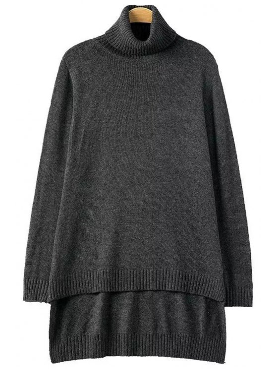 fancy Turtle Neck Solid Color Loose-Fitting Pullover Sweater - GRAY ONE SIZE(FIT SIZE XS TO M)