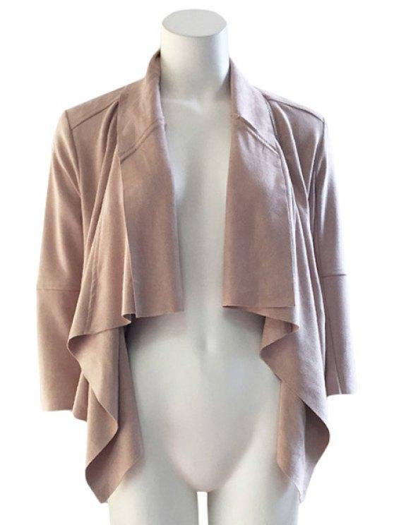 best Shawl Collar Solid Color Asymmetrical 3/4 Sleeve Coat - KHAKI S