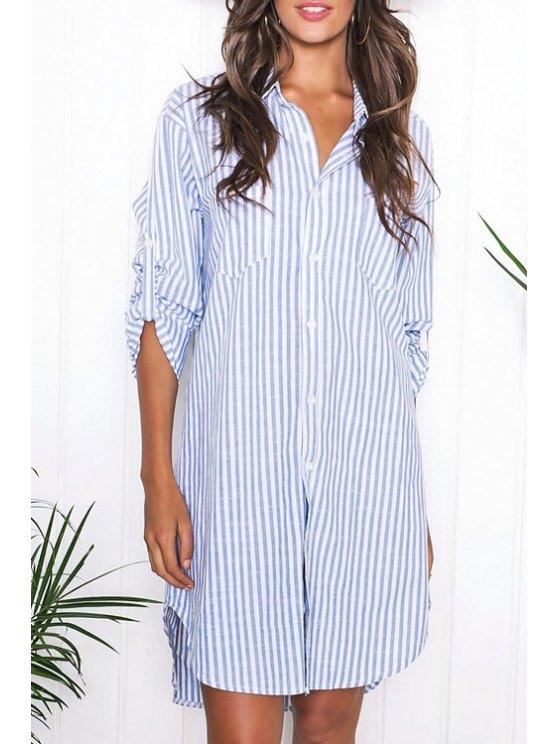 latest Long Sleeve Striped Shirt Dress - BLUE S