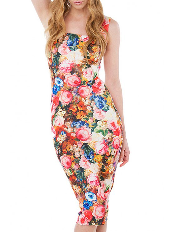 online Floral Square Neck Sleeveless Bodycon Dress - RED XS