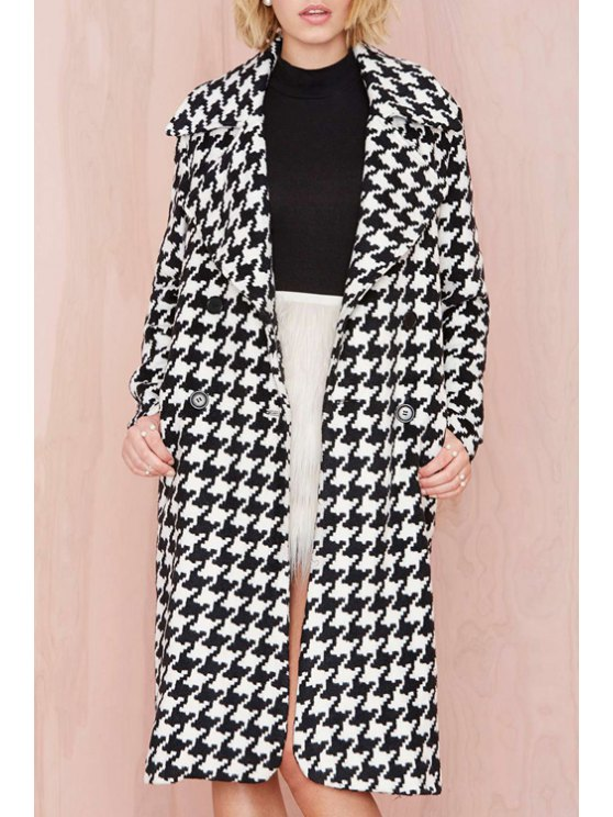 trendy Houndstooth Lapel Long Sleeves Coat - BLACK XS