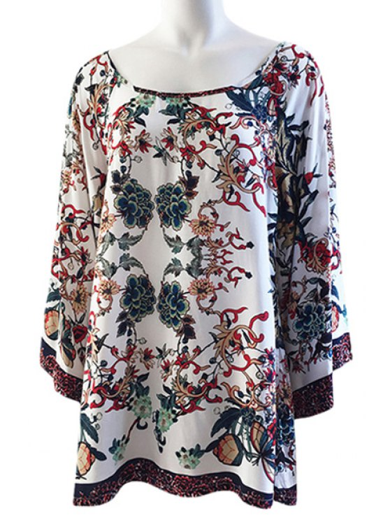 latest Colorful Floral Print Loose-Fitting Long Sleeve Dress - WHITE XS
