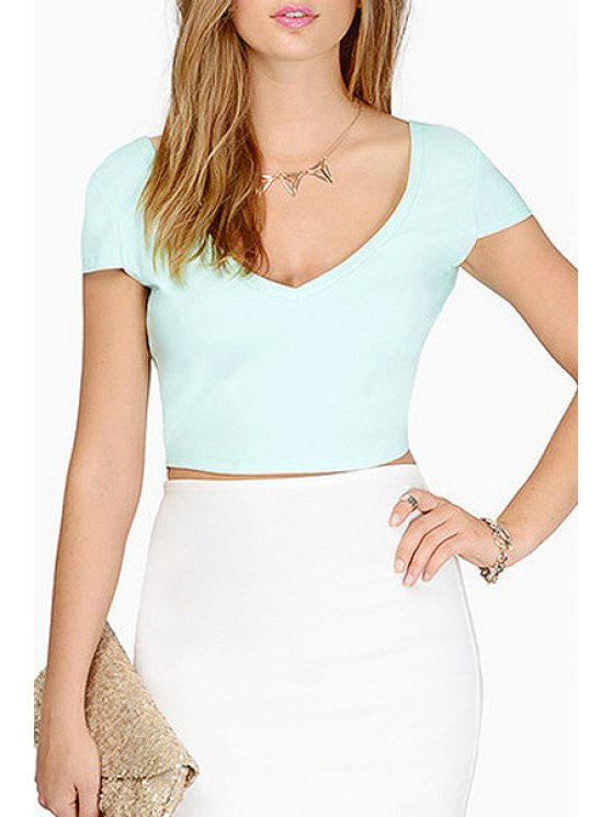 outfit Solid Color V Neck Short Sleeve Crop Top - LIGHT BLUE XS