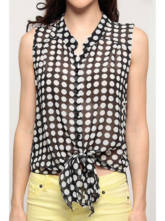 trendy Polka Dot Print Stand Neck Sleeveless Shirt - WHITE AND BLACK XS