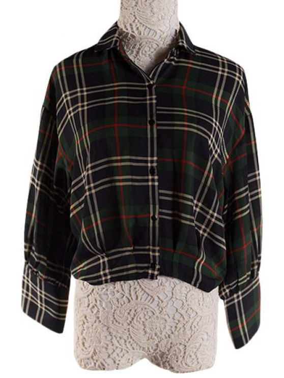 buy Polo Collar Color Block Plaid 3/4 Sleeve Shirt - GREEN S
