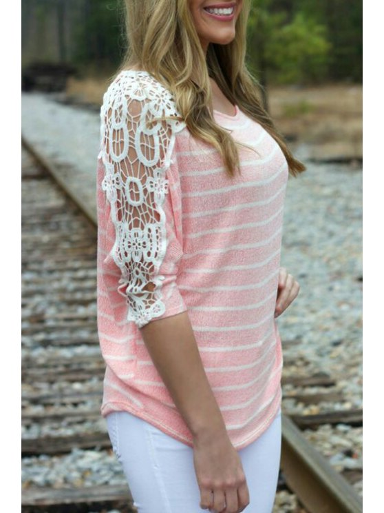 women Half Sleeve Lace Patchwork Striped T-Shirt - PINK S