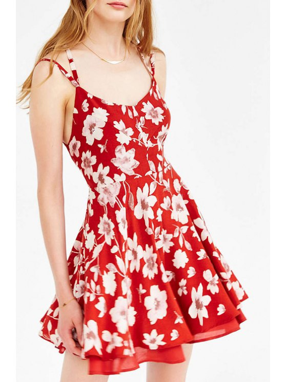 outfits Full Floral Print Cami Dress - RED XS