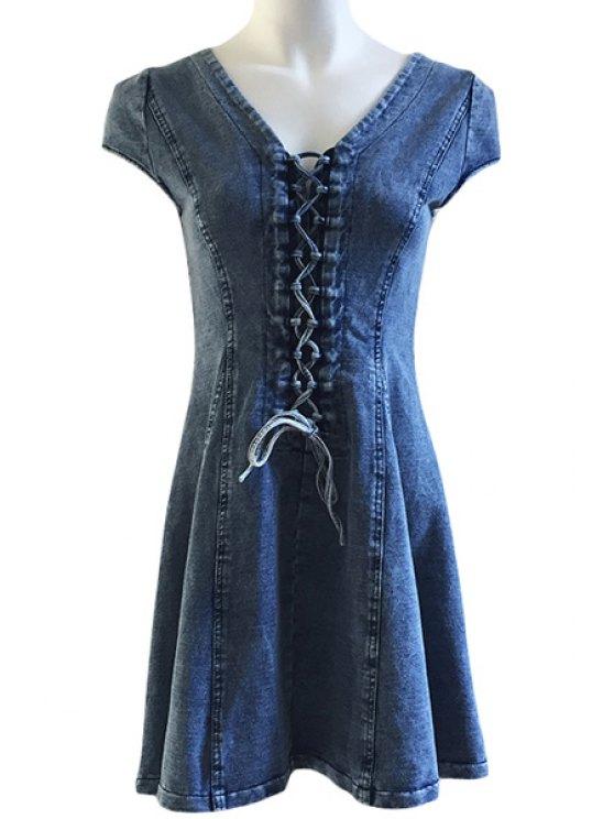 fashion Lace Up Bleach Wash Short Sleeve Dress - LIGHT BLUE S