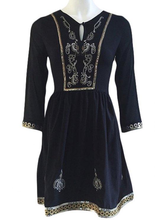 sale Embroidery Sequins 3/4 Sleeve Dress - BLACK M