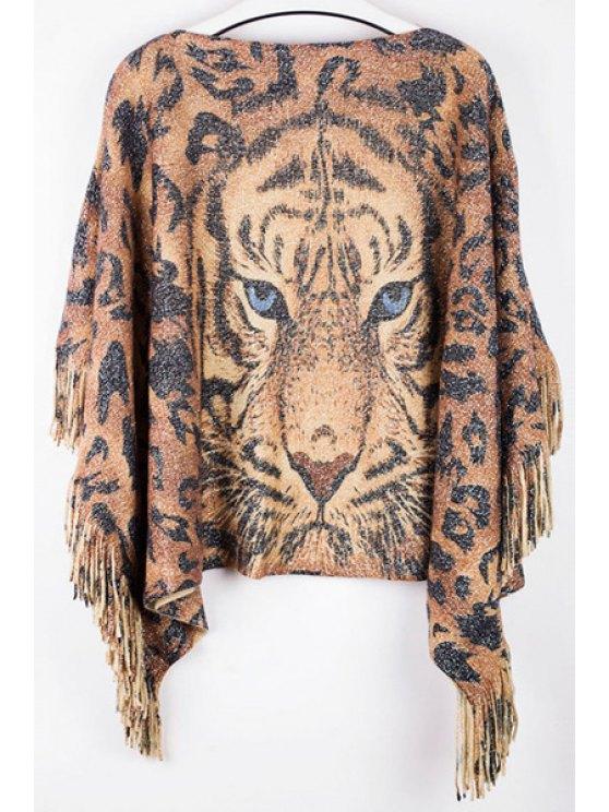 Tiger Print Boat Neck Pullover Sweater - Oro Marrón Un tamaño(Montar tam