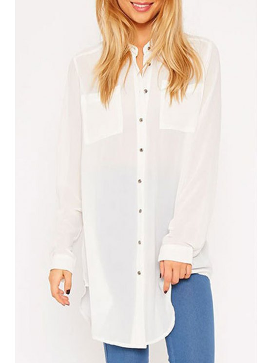 affordable Shirt Neck Long Sleeve Double Pocket Shirt - WHITE ONE SIZE(FIT SIZE XS TO M)