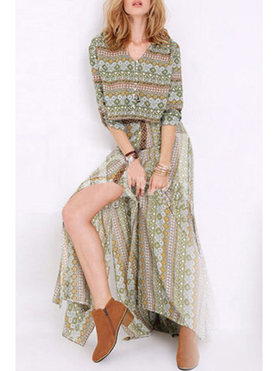 outfit Floral Printed 3/4 Sleeve T-Shirt + Long Skirt - GREEN ONE SIZE(FIT SIZE XS TO M)