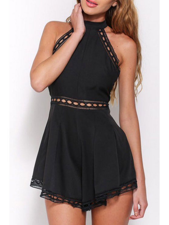 shops Black Stand Neck Sleeveless Playsuit - BLACK ONE SIZE(FIT SIZE XS TO M)