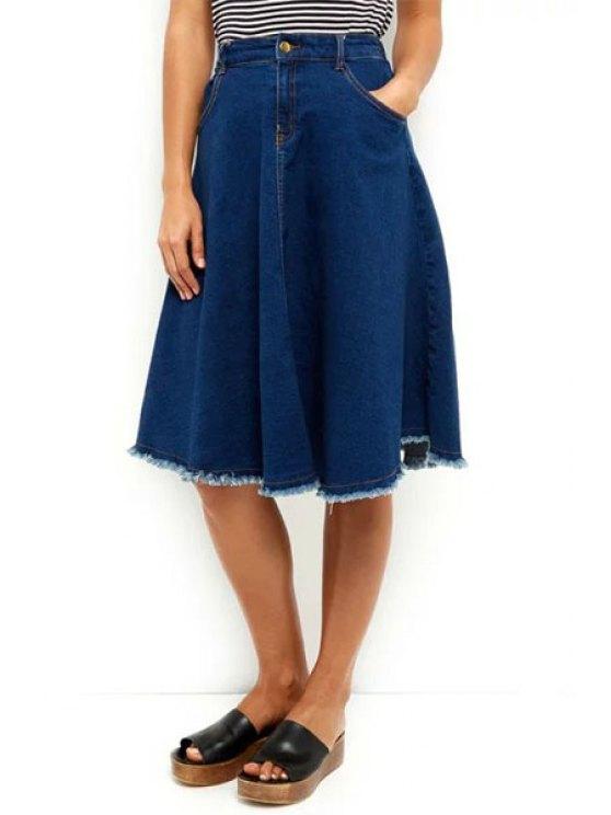 best Denim High Waisted Flouncing Skirt - DEEP BLUE S