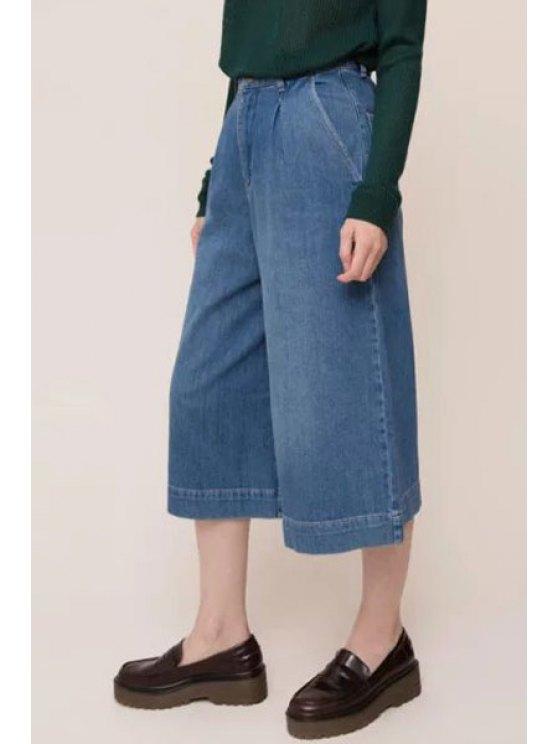 women's Denim High Waisted Capri Pants - BLUE S