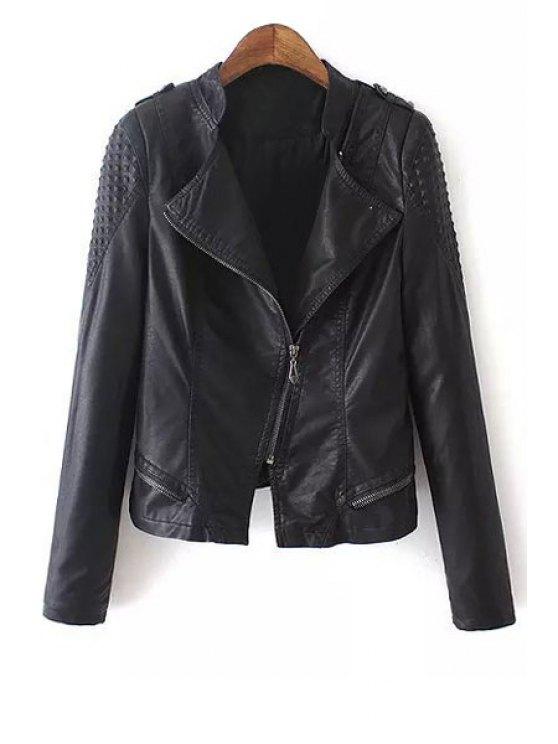 trendy PU Leather Rivet Turn Down Collar Jacket - BLACK M