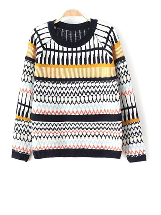 unique Geometric Print Round Collar Colorful Pullover Sweater - COLORMIX ONE SIZE(FIT SIZE XS TO M)