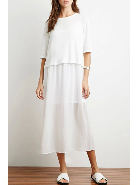 women Solid Color Multi-Layered Half Sleeve Dress - WHITE S