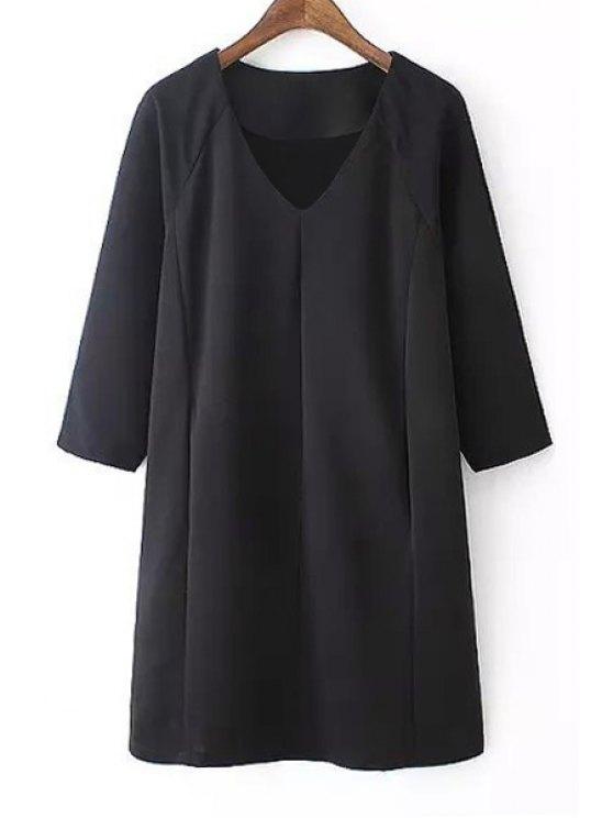 online Black V Neck 3/4 Sleeve Dress - BLACK S
