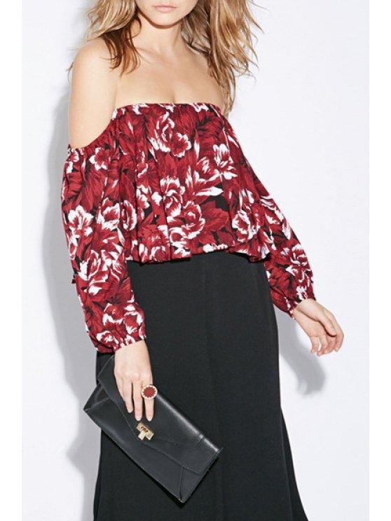 affordable Slash Neck Floral Print Long Sleeve Blouse - DARK RED S