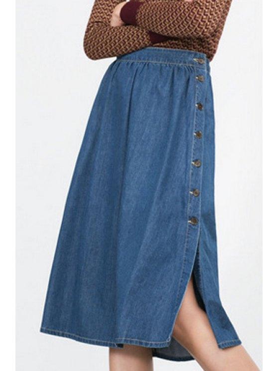 hot Blue Denim High Waisted A Line Skirt - BLUE S