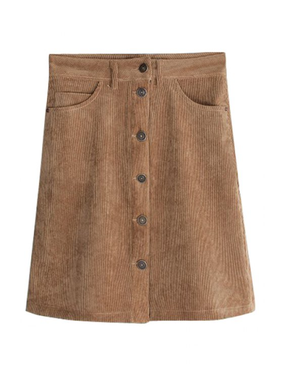 unique Corduroy High Waisted A Line Skirt - BRONZE-COLORED XS