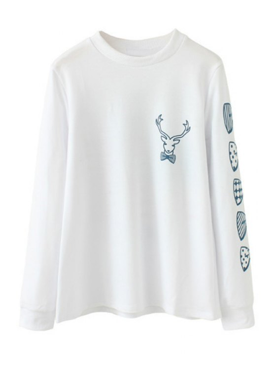 unique Bowknot Print Long Sleeve Sweatshirt - WHITE S
