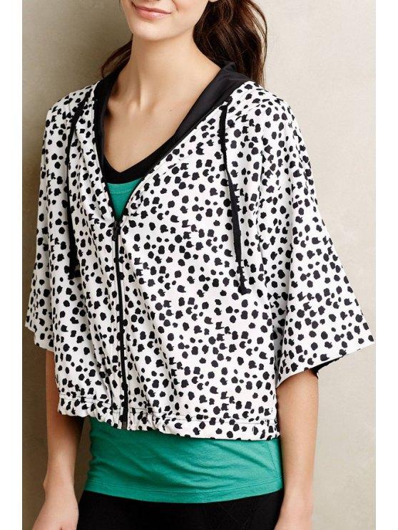shop Hooded Black Polka Dot Half Sleeve Coat - WHITE AND BLACK S