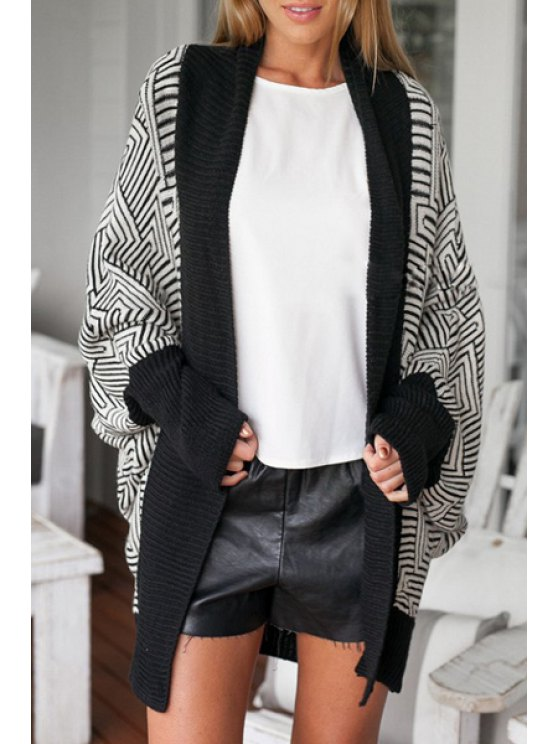 new Batwing Sleeve Jacquard Cardigan - WHITE AND BLACK ONE SIZE(FIT SIZE XS TO M)