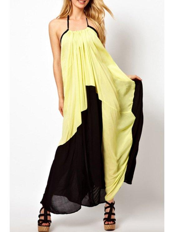 womens Halter Neck Black Yellow Splicing Dress - YELLOW AND BLACK L