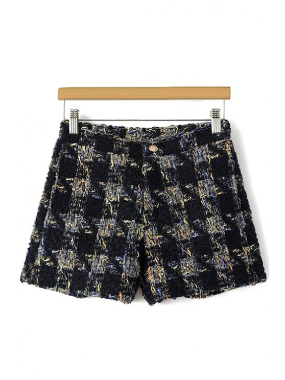 women's Houndstooth Pattern Fall Shorts - BLACK S