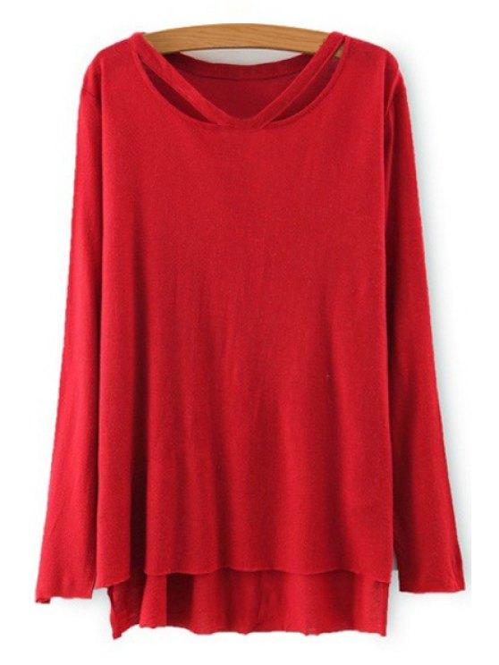 shop Solid Color High Low Hem T-Shirt - RED S