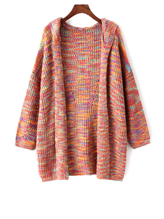 shops Colored Hooded Long Sleeve Cardigan - ORANGEPINK ONE SIZE(FIT SIZE XS TO M)