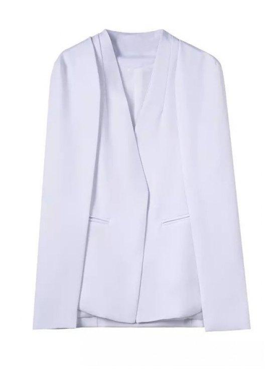 unique Solid Color V-Neck Long Sleeves Cape Blazer - WHITE S