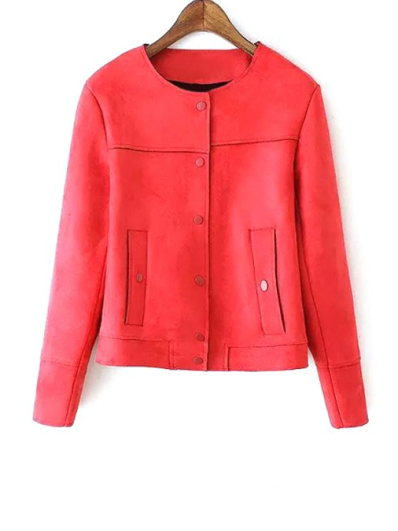 ladies Faux Leather Round Neck Long Sleeve Jacket - RED S