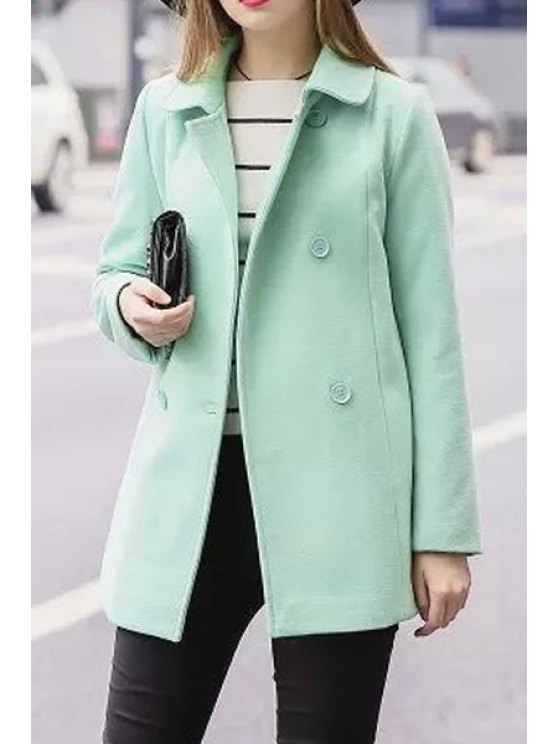 ladies Turn Down Collar Double-Breasted Coat - GREEN S