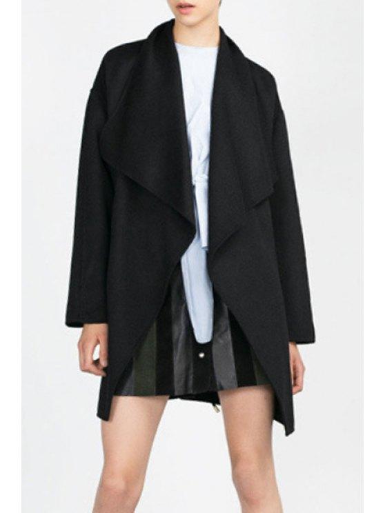 buy Large Lapel Collar Pocket Wool Coat - BLACK S